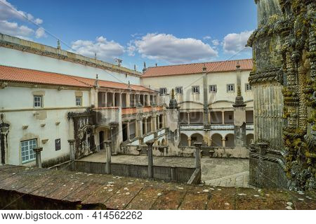 Tomar, Portugal- November 18 2014: The Cloister Of Catholic Monastery Of Tomar, Portugal.