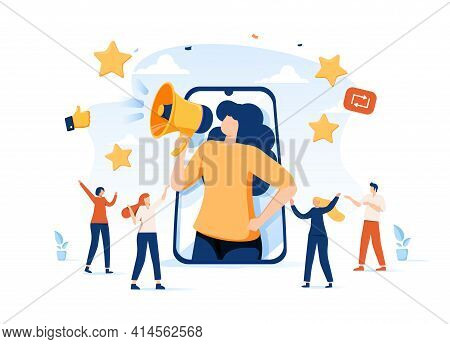 Referral Vector Illustration. Flat Tiny Products Promotion Persons Concept. New Customers Word Of Mo