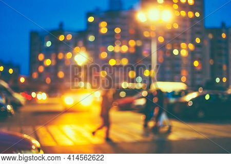Pedestrian Crossing Defocused Blue Boke Bokeh Urban City Background Effect. Design Backdrop