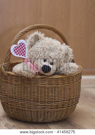 Bear Holding  Heart In  Basket Valenyine's Day