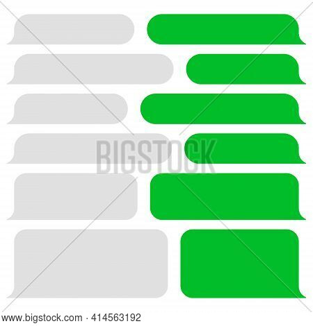 Blank Vector Message Bubbles. Chat Or Messenger Speech Bubble. Sms Text Frame. Short Message Sending