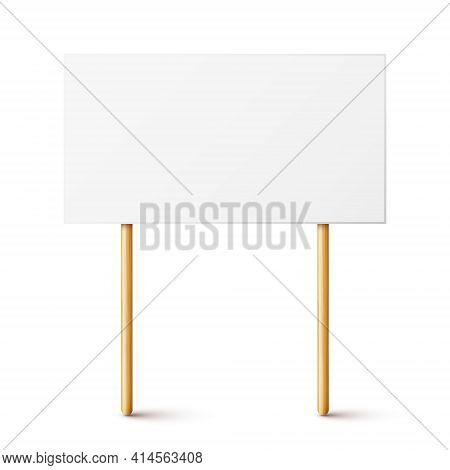 Blank Protest Sign With Wooden Holder. Realistic Vector Demonstration Banner. Strike Action Cardboar