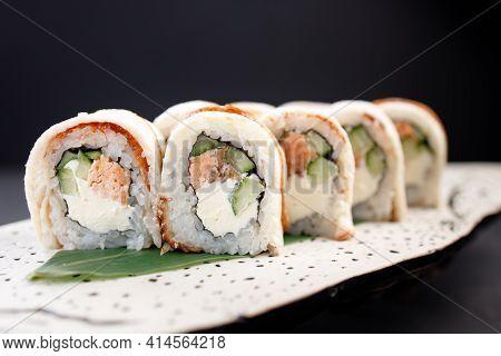 Seafood Delicatessen Unagi Sushi Rolls On Plate