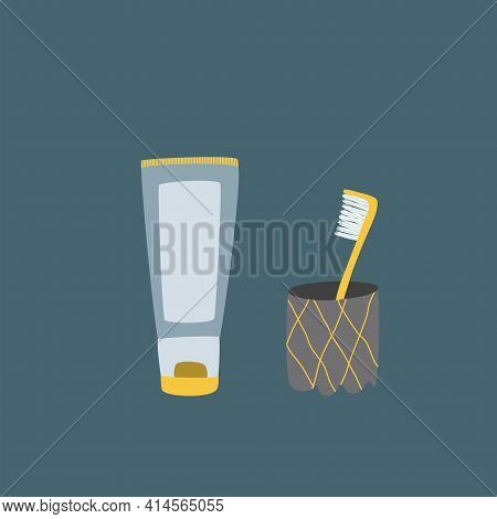 Toothbrush In Glass And Toothpaste In Tube Isolated On Background. Dental, Health, Selfcare Vector I
