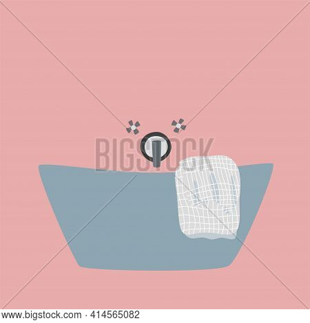 Modern Cozy Bathroom Interior Concept With Bathtub And Towel. Stylish Design Vector Illustration. Ba
