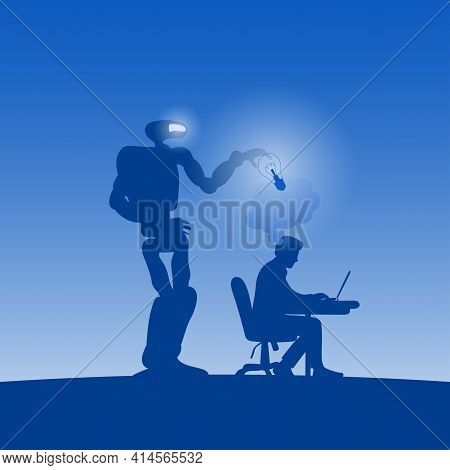 Robot Or Ai Stealing Idea Of Businessman Working On Laptop Computer In Blue Shade Gradient Backgroun