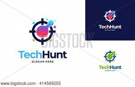 Technology Hunter Logo Designs Concept Vector, Tech Logo Symbol Icon Vector Illustration
