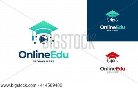 Online Education Logo Designs Concept, Online Video Education Logo Designs