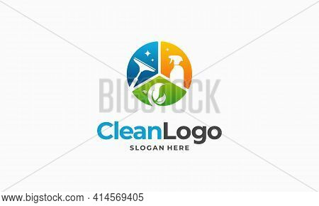 Cleaning Service Business Logo Design, Eco Cleaning Logo Concept Vector
