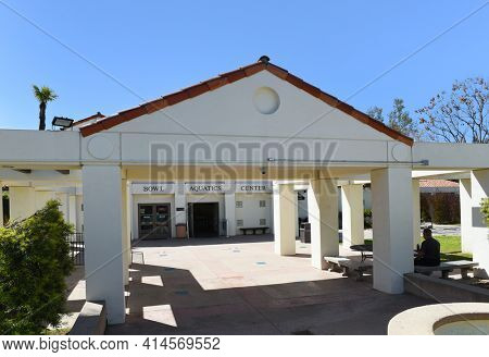 PASADENA, CALIFORNIA - 26 MAR 2021: Entrance at the Rose Bowl Aquatics Center in Brookside Park
