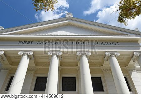 PASADENA, CALIFORNIA - 26 MAR 2021: The First Church of Christ Scientist. The Classic Revival style building was built in 1909.