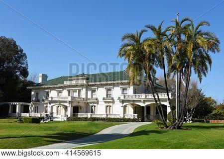 PASADENA, CALIFORNIA - 26 MAR 2021: The Tournament of Roses Headquarters Building on Orange Grove Boulevard.