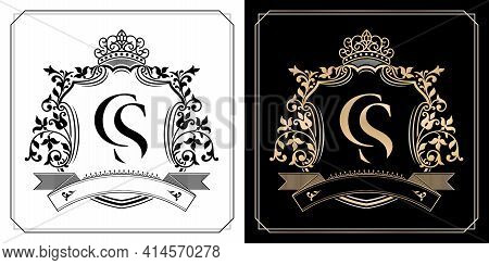 Cs Royal Emblem With Crown, Set Of Black And White Labels, Initial Letter And Graphic Name Frames Bo