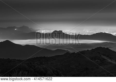 Idyllic Landscape Of Silhouette Of Natural Landmark Lion Rock In Hong Kong