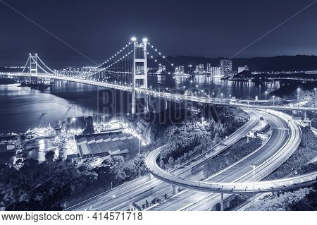Tsing Ma Bridge In Hong Kong City At Night