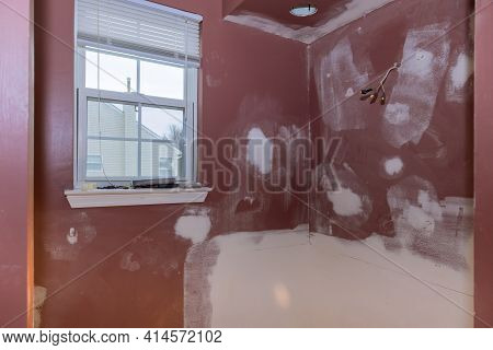 Home Construction Bathtub Walls Remodeling Master Bathroom Patching Drywall