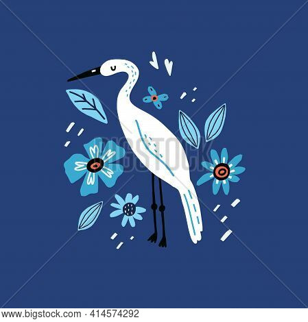 Egret And Flowers. Cartoon Hand Drawn Modern Style Bird Stand And Decor Botanical Elements, Doodle C