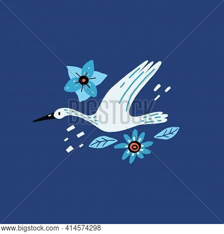 Egret And Flowers. Cartoon Hand Drawn Modern Style Bird Flying And Decor Botanical Elements, Doodle
