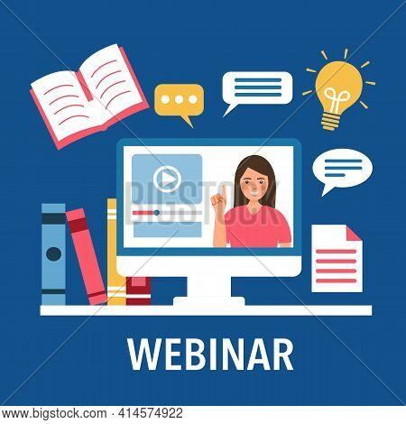 Webinar Concept Vector Illustration. Woman Speaking On Computer Screen With Books On Desk In Flat De