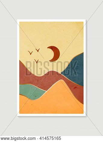 Modern Minimalist Art Print. Abstract Mountain Contemporary Aesthetic Backgrounds Landscapes. Arts D