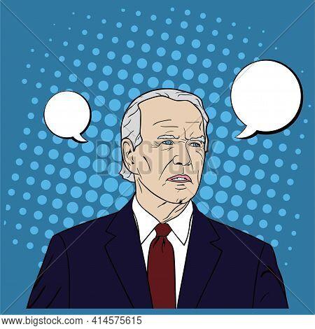 President Of Usa Joe Biden Portrait, Flat Design, Pop Art Design, Vector, Illustration