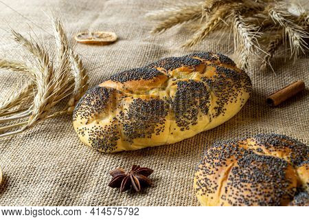 Rye Bread.  Bakery With Crusty Loaves And Crumbs. Fresh Loaf Of Rustic Traditional Bread With Wheat