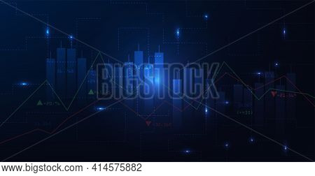 Trading Infographic Background.business Chart With  Rising And Uptrend Line Graph.trading Concept On