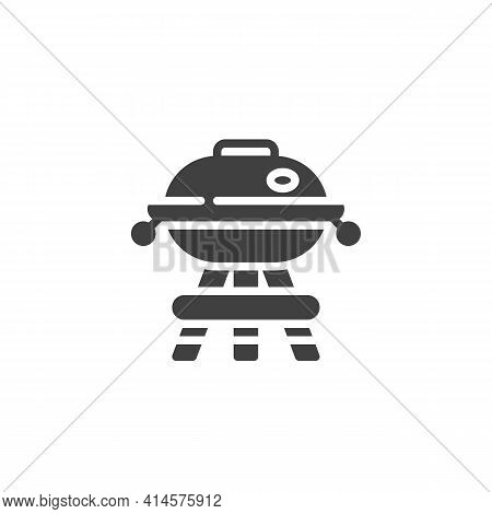 Barbeque Grill Vector Icon. Filled Flat Sign For Mobile Concept And Web Design. Bbq Grill Glyph Icon