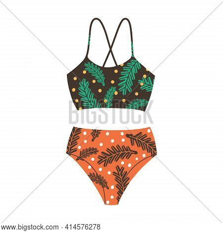 Female Two-piece Swimsuit With Floral Print. Modern Fashion Stylish Swimsuit. Vector Flat Cartoon Il