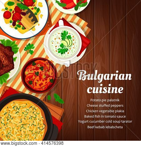 Bulgarian Cuisine Food Menu, Dishes And Meals, Vector Bulgaria Traditional Meat Kebab, Pie And Stew.