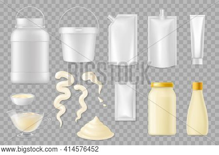 Mayonnaise Realistic Packages Vector Mockup, Food Containers, Plastic And Glass Jars. Mayonnaise Sau