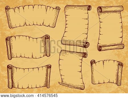 Scrolls, Paper Parchments And Old Manuscripts, Vector Ancient Vintage Papyrus. Sketch Scrolls And Pa