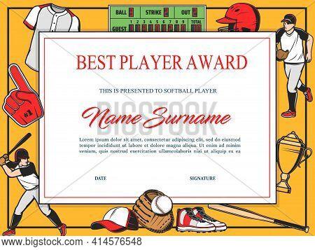 Baseball Best Player Award Diploma Vector Template. Winner Certificate In Tournament, Sport School A