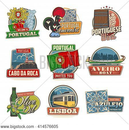 Portugal Travel Vector Icons. Portuguese National Coat Of Arms, Beacon Building And Map. Portugal Wi