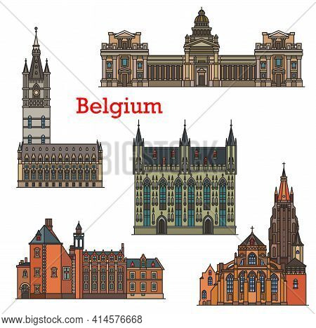 Belgium Travel Landmarks, Architecture Of Brussels And Bruges, Vector. Belgian Cathedrals, Churches