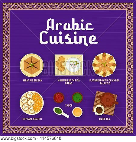 Arabic Cuisine Vector Menu. Meat Pie Sfeeha, Hummus With Pita Bread, Flatbread With Chickpea Falafel