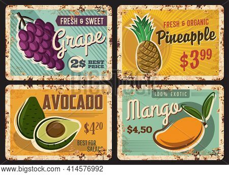 Fruits Farm Or Market Rusty Metal Plate. Bunch Of Grapes, Ripe Pineapple And Sliced Avocado, Fresh M