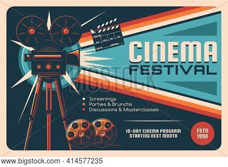 Cinema Festival, Cinematography Industry Retro Poster. Old Movie Camera On Tripod, Movie Theater Pro