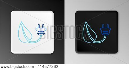 Line Electric Saving Plug In Leaf Icon Isolated On Grey Background. Save Energy Electricity Icon. En