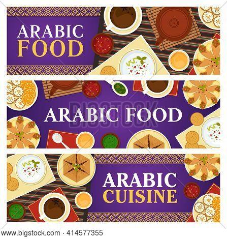 Arabic Food Vector Meals Flatbread With Chickpea Falafels, Cupcake Knafen, Sauce, Anise Tea, Meat Pi