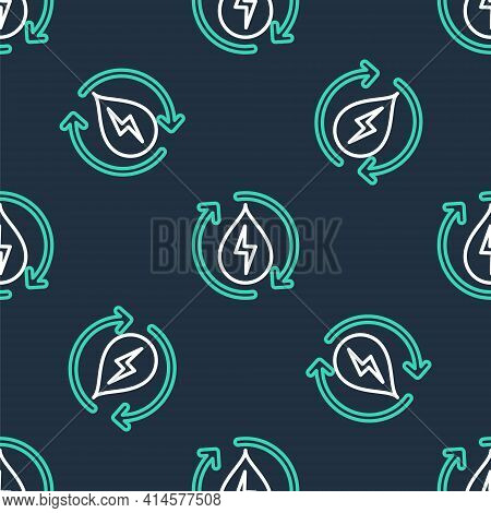 Line Recycle Clean Aqua Icon Isolated Seamless Pattern On Black Background. Water Recycling Energy S