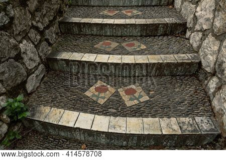 Nice, France - November 05, 2020- Ancient Stairs With Ornament Of A Flower In Old Town Of Nice. Popu