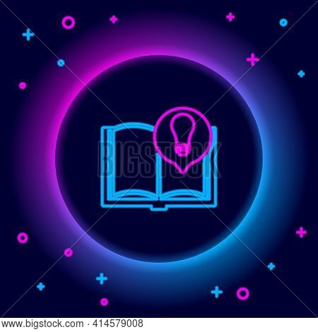 Glowing Neon Line Interesting Facts Icon Isolated On Black Background. Book Or Article And Light Bul