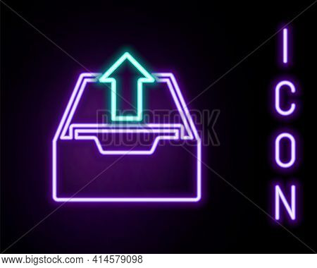 Glowing Neon Line Upload Inbox Icon Isolated On Black Background. Extract Files From Archive. Colorf