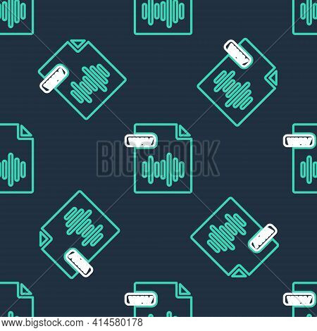 Line Wav File Document. Download Wav Button Icon Isolated Seamless Pattern On Black Background. Wav