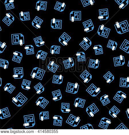 Line Jpg File Document. Download Image Button Icon Isolated Seamless Pattern On Black Background. Jp
