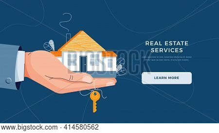 Real Estate Agency Landing Page Template. Brokers Hand Giving House Keys For Home Purchase. Deal Sal