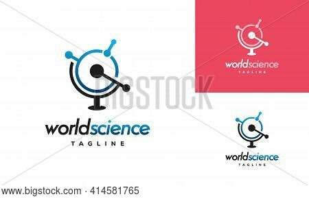 World Science Logo Designs Concept Vector, Molecule Atom Logo Designs Template