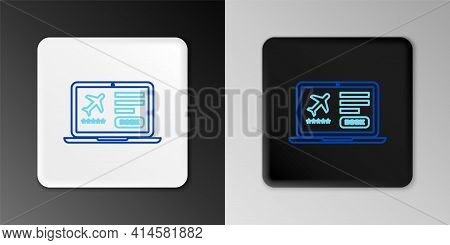 Line Laptop With Electronic Boarding Pass Airline Ticket Icon Isolated On Grey Background. Passenger
