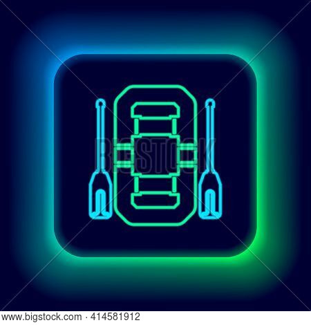 Glowing Neon Line Rafting Boat Icon Isolated On Black Background. Inflatable Boat With Oars. Water S